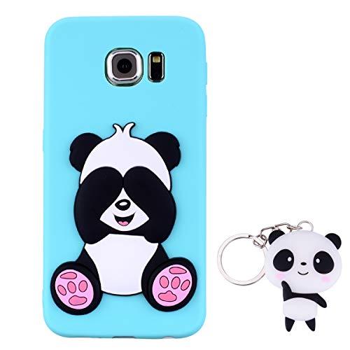 HopMore Panda Funda para Samsung Galaxy S6 Silicona con Diseño 3D Divertidas Carcasa TPU Ultrafina Case Antigolpes Caso Protección Cover Dibujos Animados Gracioso con Llavero - Verde