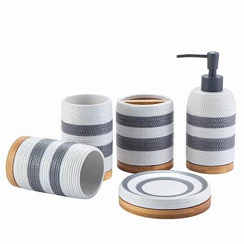 Conjunto de accesorios de baño, kit de lavado de baño de cerámica de 5 piezas, accesorios de decoración de baño, incluyendo botella de loción, titular de cepillo de dientes, taza de boca, jabonera