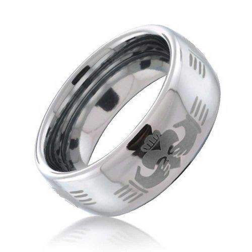 Bling Jewelry Etched Celtic Irish BFF Claddagh Parejas Titanium Anillos de la Banda de Boda para los Hombres para Las Mujeres Tono Plata Confort 8MM