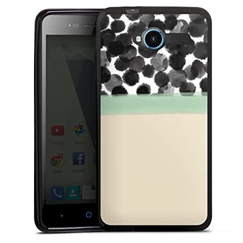 DeinDesign Silikon Hülle kompatibel mit ZTE Blade L3 Hülle schwarz Handyhülle Polka Dots Streifen Abstrakt