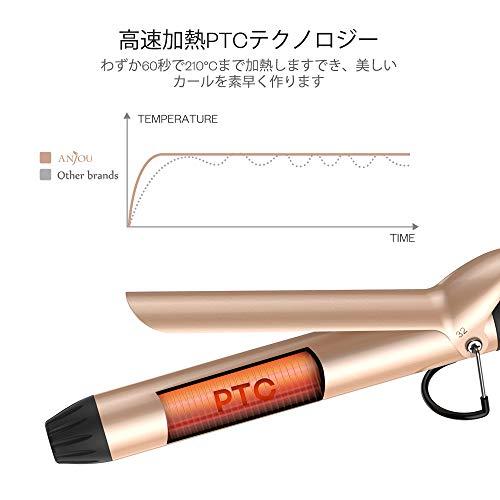 Anjouヘアアイロン32mmコテカールマイナスイオン温度LCD表示プロ仕様80℃~210℃14段階温度調節自動電源OFF海外対応AJ-PCA030(ローズゴールド)