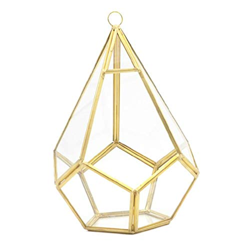 Gold Wall Geometric Terrarium - Indoor Opening Polyhedron Tabletop Window Sill Balcony Plant Holder Pot Container Decor