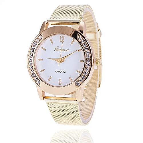 SSLA Reloj de Cuarzo Relojes Mujer Vestido de Oro clásico de Las Mujeres Cinturón de Malla Relojes cristalina del Diamante de los Hombres del Regalo for la Pareja (Color : White)