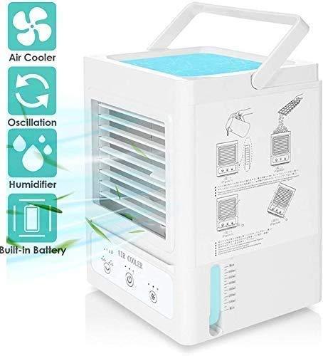 Refrigeratore ad aria portatile, 5000 mAh, condizionatore personale, ricaricabile, 700 ml, climatizzatore oscillante a 120°, Bianco