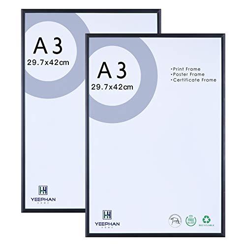A3 Aluminium-Fotorahmen mit Plexiglasglasfront, Wandhalterung für Bild oder Zertifikat 29,7 x 42 cm schwarzer Bilderrahmen, 2er-Pack