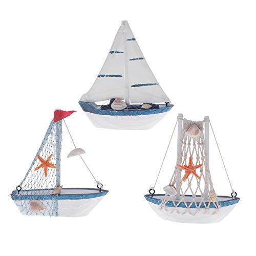 Toyvian 6pcs Maqueta de Barcos de Madera Adorno de velero mediterráneo artesanía de Madera Escritorio decoración