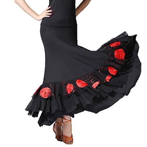 IPOTCH Falda de Flamenco Volante para Mujer - Negro + Rojo, como se describe
