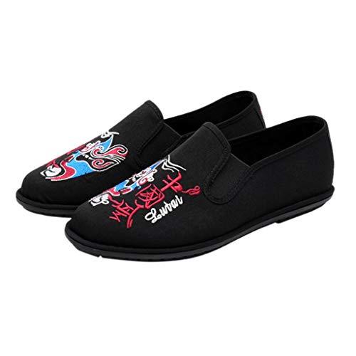 Calzado Escotado Zapatos de Viento Nacional de Beijing Ópera de Pekín Fantasma de Color Bordado Zapatos de Lona Viejo Beijing Zapatos de Tela