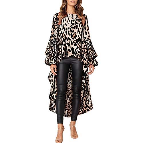 Shujin Damen Herbst Elegant Langarm Kleid mit Leopardmuster Drucken Asymmetrisch Vorne Kurz Hinten Lang Rüschen Saum Tunika Partykleid