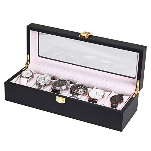 Asvert Uhrenbox für 6 Uhren mit Glasanzeige Oberseite Uhrenkasten Uhrenschatulle elegantes Aussehen Schaubox Schmuck Boxen Aufbewahrungsboxen Display Boxen, Schwarz