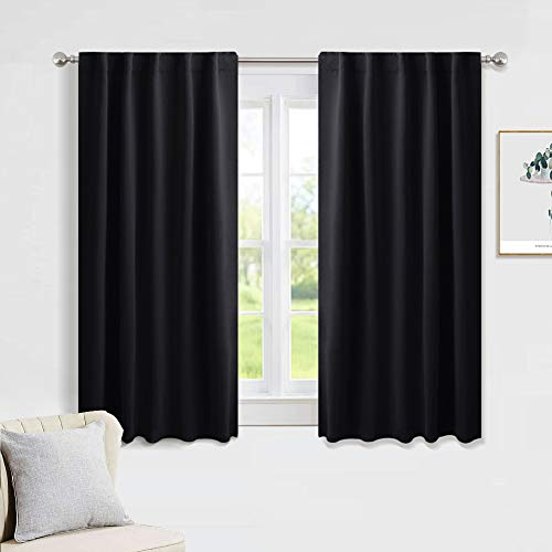 PONY DANCE Blackout Curtains Set - Nursery Short Curtain Panels Thermal Insulated Window Treatments Back Tab/Rod Pocket Light Blocking for Bedroom, 42 Wide by 45 Inches Long, Black, 2 Panels