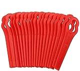 ZoneYan Lames en Plastique de Rechange pour Coupe-Bordures, 100 Lames de Coupe en Plastique de Remplacement, Tondeuse à Gazon en Plastique Lames, Lames de Grass Trimmer Brush Cutter, Rouge