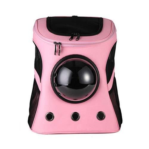 Angle-w スタイリッシュなデザイン、シンプルな旅行, 大容量のペットキャリアアジラジャゲージキャンバススペースカプセル子猫猫犬キャリアバックパック外子のペットトラベルバッグ通気性 さらに進んでみましょう (Color : Pink, Size : Large 38x45cm)