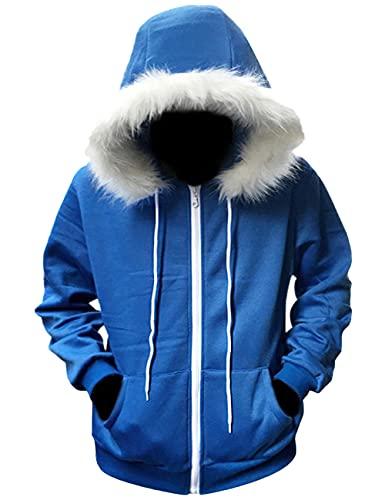 Anime Undertale Sans Cosplay Disfraz Halloween Navidad fiesta traje de felpa abrigo chaqueta para mujer conjunto completo-azul_XXL