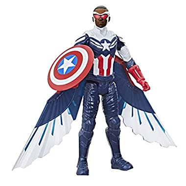 Avengers Marvel Studios Titan Hero Series Captain America Action Figure, 12-Inch Toy, Includes Wings, for Kids Ages 4…