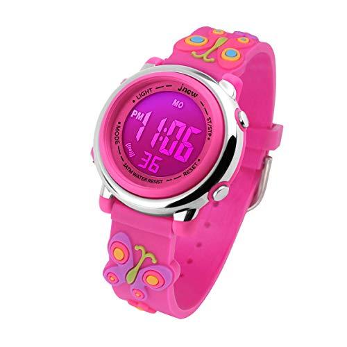 Kinderuhr Mädchen, Lernuhr für Kinder 3ATM Wasserdicht Digital 3D Cute Cartoon Silikon Armband Armbanduhr mit Wecker/Datum/Stoppuhr/LED-Licht, Elektronische Kids Uhr