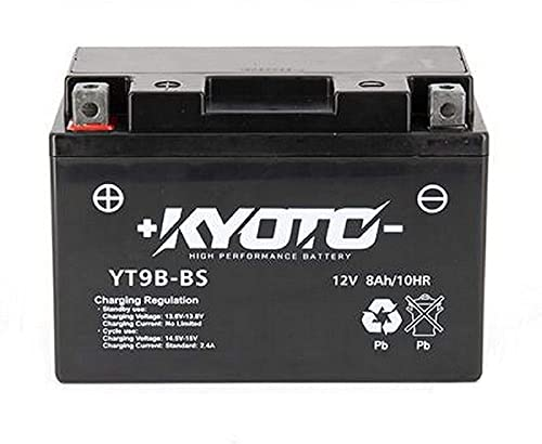 Batteria moto Kyoto SLA YT9B-BS compatibile con Yamaha MT-03 660 2006-2010 - Pronta all'uso - 12V 8Ah - 150 x 70 x 105 mm