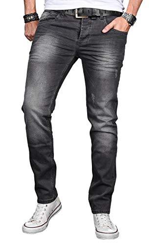 A. Salvarini Designer Herren Jeans Hose Basic Stretch Jeanshose Regular Slim [AS046 - Dark Grey - W33 L30]