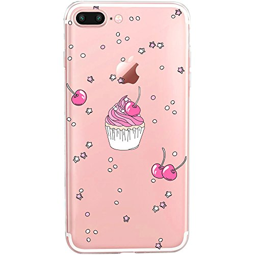GIRLSCASES | Custodia compatibile per iPhone 8 Plus / 7 Plus | con Cupcake Glitter Shiny Look in silicone | Fashion Case Trasparente