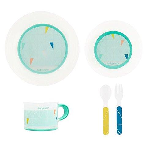 Babymoov A005508 Geschirr-Set, rutschfest, mikrowellen/spülmaschinengeeignet, inklusive Teller, Schale, Tasse, blau