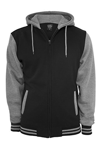TB287 2-tone Zip Hoody Jacke Sweat Sweatshirt Kapuze, Black/Grey, 3XL