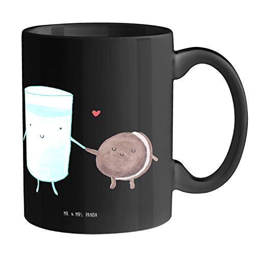 Mr. & Mrs. Panda Kaffeetasse, Kaffeebecher, Tasse Milch & Keks - Farbe Schwarz