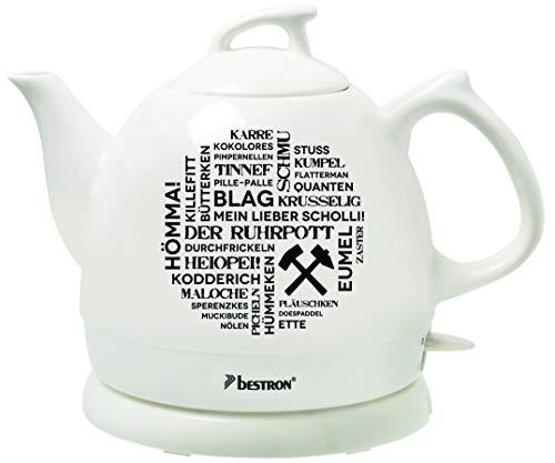 Bestron DTP800RP Hervidor de Agua Retro, Diseño: Ruhrpott, 1800 W, 0.8 litros, Cerámica, Blanco