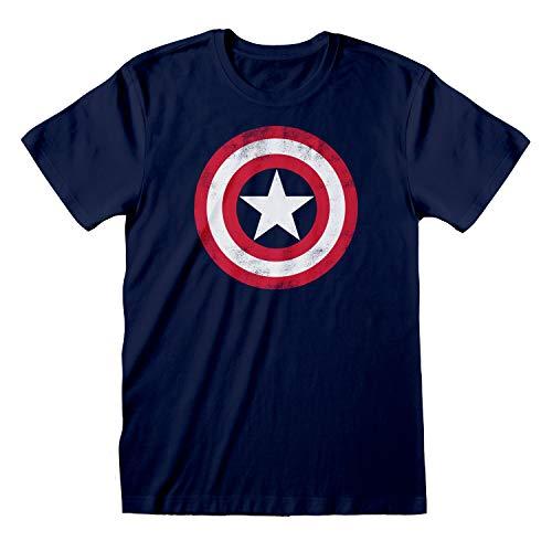 Marvel Avengers Assemble Capitán América Apenada Escudo Camiseta para Hombre Armada XL