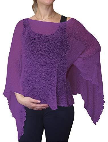 Ikat Damen Mutterschaft Schwangerschaft Aufdecken Kap Häkeln Spitze Fischnetz Fledermaus Poncho Einheitsgröße (Einheitsgröße, Purple)