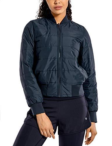 CRZ YOGA Damen Herbst Warm Mantel Winter Jacke Cropped mit Reißverschluss Echte Marine 40