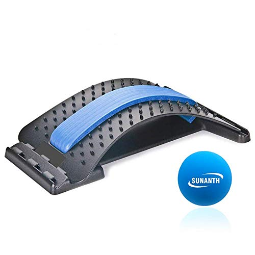 wooden back stretchers SUNANTH Back Stretcher, Lumbar Stretching Device with 3Adjustable Settings for Upper and Lower Back Pain Relief, Spinal Pain Relieve,Herniated Disc, Spinal Stenosis(Black&Blue)