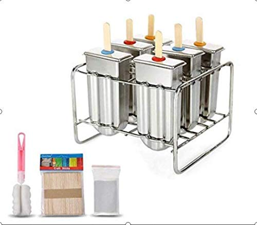 Regun Popsicle, Polo Molde de Acero Inoxidable Paleta de moldes de Helado Molde con Soporte de Acero Inoxidable palillo