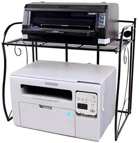 Montado-Planta Bathroom Negro 2-Tier Cocina Estante De La Impresora del Horno Microondas Estante Plegable del Escritorio De Oficina De Almacenamiento En Rack Estante De Especia