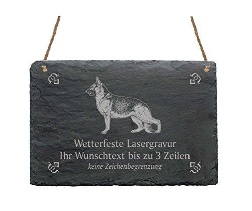 Schiefertafel « DEUTSCHER SCHÄFERHUND » IHR TEXT + MOTIV - 22 x 16 cm - Schild mit Hund Schäferhund
