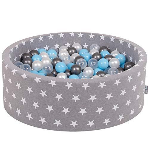 KiddyMoon Bällebad 90X30cm/200 Bälle ∅ 7Cm Bällepool Mit Bunten Bällen Für Junge Babys Kinder Rund, Grausterne: Transparent/Silbern/Perle/Baby Blau