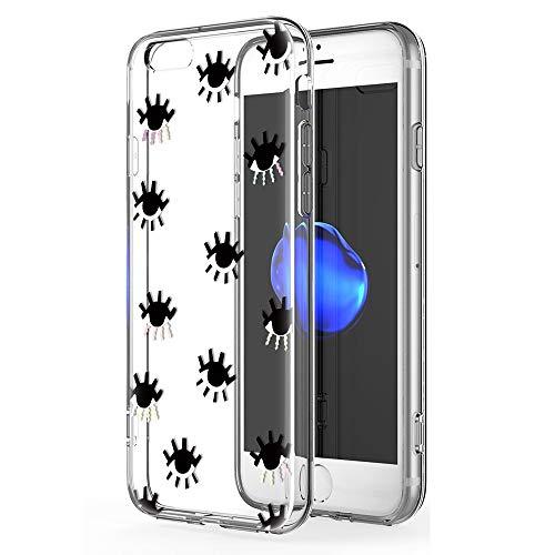 Zhuofan Plus Funda iPhone 6 Plus, Silicona Suave Clara Transparent TPU Gel con Diseño Print Pattern Anti-rasguños Shockproof Protactivo Cover para iPhone 6 Plus, Los Ojos