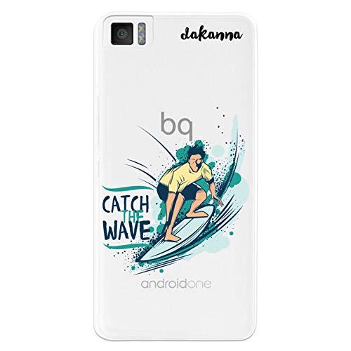 dakanna für [Bq Aquaris M4.5 - A4.5 Flexible Silikon-Handy-Hülle [Transparenter Hintergr&] Junge mit Surfbrett & Phrase: Catch Wave Design, TPU Hülle Cover Schutzhülle für Dein Smartphone
