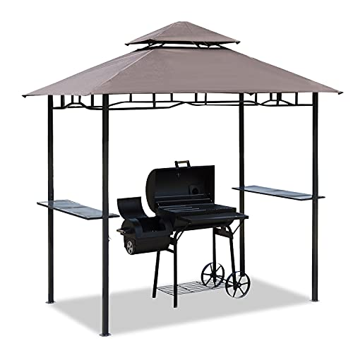 Outsunny 8 ft New Double-Tier BBQ Gazebo Grill Canopy Barbecue Tent Shelter Patio Deck Cover - Coffee