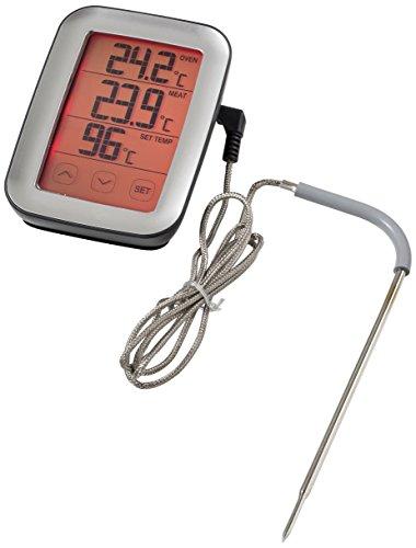 Sunartis Digitales Fleisch-und BBQ Thermometer mit Touchscreen, Kunststoff, Schwarz/Edelstahl, 10.7 x 7.1 x 4 cm