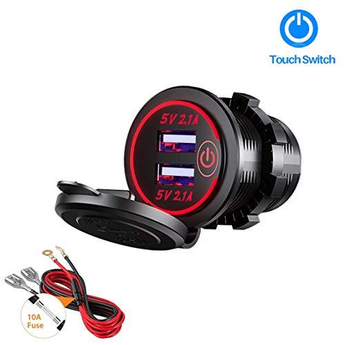 Thlevel Auto USB Ladegerät KFZ USB Steckdose 5V 4.2A Schnellladung mit LED Anzeige, wasserdichte und Staubdicht, für 12V~24V Fahrzeuge KFZ Boot Motorrad SUV Bus LKW Wohnwagen Marine (Rot)