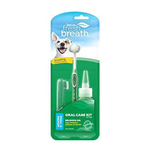 Haleine Fraîche de TropiClean Kit de Soin Buccal pour Petits Chiens - Élimine plaque & tartre - brosse à dents TripleFlex, brosse à doigt pour les gencives sensibles & gel de brossage - 59 ml