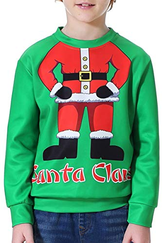 Toddler Boys Novelty Sweatshirt x-mas Costume Sweater Ugly Sweatshirt Green Santa Claus XS