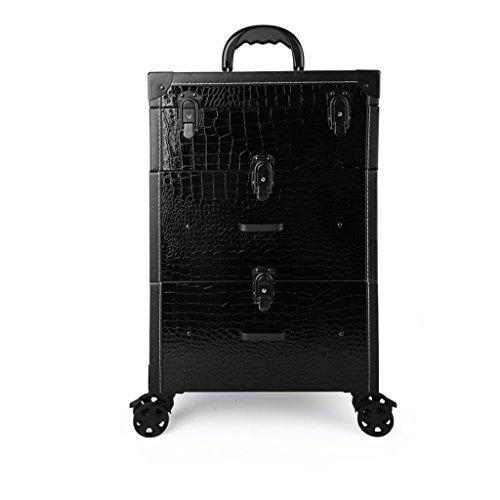 Trois étages Tiroir Type Trolley Cosmétique Cas PU Beauté Tatouage Outil Trolley Case Manucure Kit (Couleur : Black crocodile pattern)