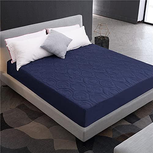 CYYyang Protector de colchón - óptimo antiácarosSábana Impermeable Aislamiento de orina en Relieve-Azul Marino (Estrella de Concha) _90X190 + 30cm