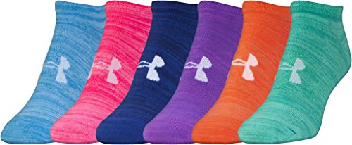 Under Armour Women's Essential No Show Socks, 6-Pairs , Bright Assortment , Shoe Size: Womens 6-9