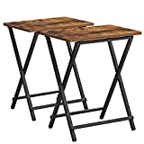 VASAGLE TV Tray Set of 2, Folding Tables, Snack Table for Dinner, Laptop Tables, Foldable, Collapsible, and Space-Saving, Industrial, Rustic Brown and Black ULET251B01