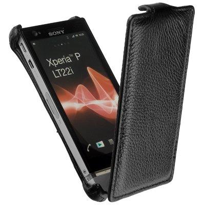 yayago Flip -SnapIn-Style Leder Tasche Ledertasche Ultra Flach für Sony Xperia P LT22i