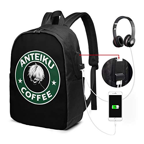 Tokyo Ghoul Backpack 17 in Large Laptop Backpack with USB Charging Port and Headphone Jack is Suitable for Travel School Office
