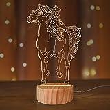Lámpara de noche LED con diseño de caballo, 3D, luz blanca cálida, lámpara de mesa para niños y niñas, decoración de habitaciones