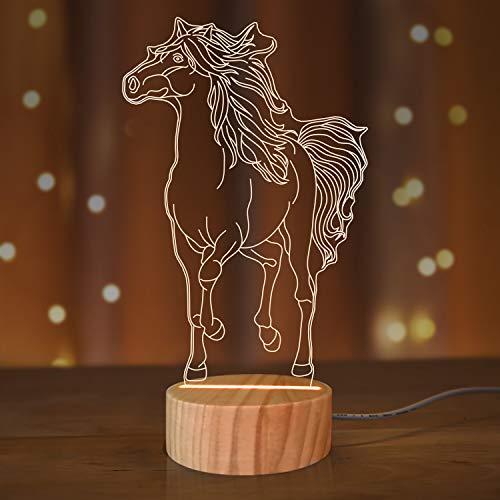 Pferd 3D Illusion Lampe LED Nachtlicht für Kinder Jungen Sportfan Weihnachtsgeschenke, USB Power Weiche Warmweiße Farbe Zimmer Dekor Tischlampen